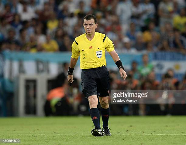 Referee Joel Aguilar seen during the 2014 FIFA World Cup Brazil Group F match between Argentina and BosniaHerzegovina at Maracana on June 15 2014 in...