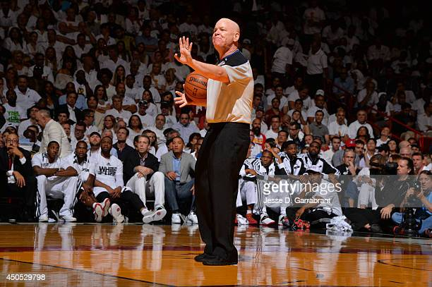 Referee Joey Crawford calls a foul during the San Antonio Spurs against the Miami Heat during Game Six of the 2014 NBA Finals on June 12 2014 at...