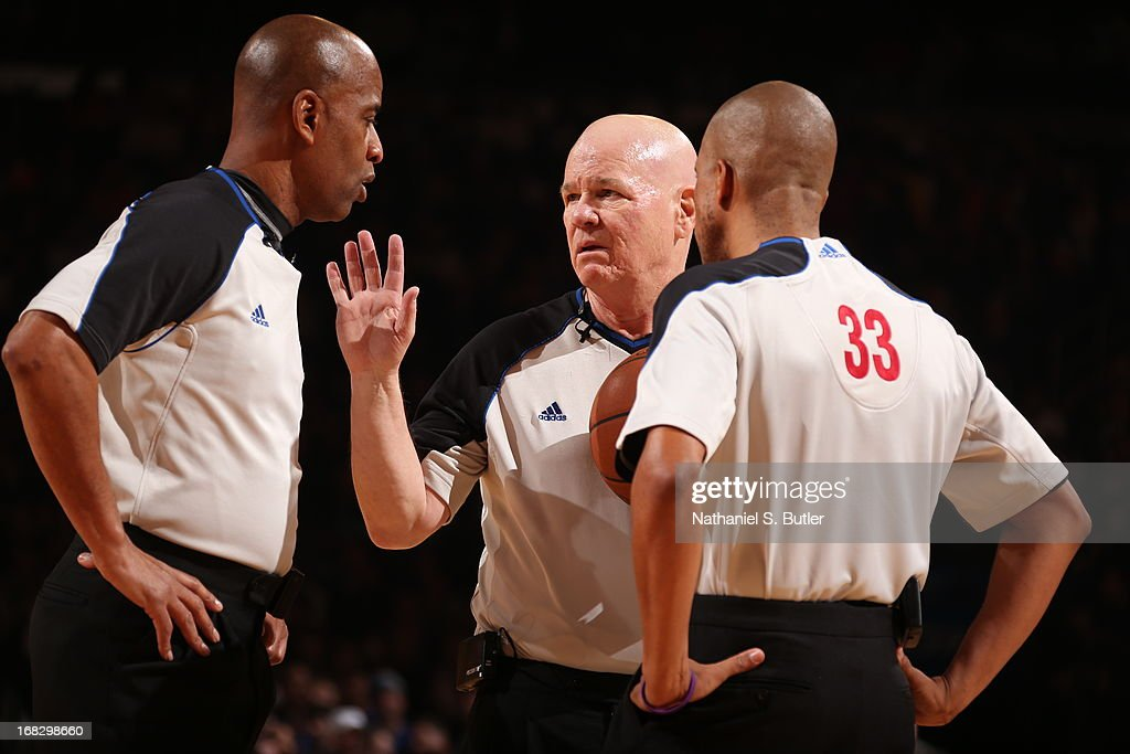 NBA referee Joey Crawford discusses a call during the game between the New York Knicks and Indiana Pacers in Game Two of the Eastern Conference Semifinals during the 2013 NBA Playoffs on May 7, 2013 at Madison Square Garden in New York City.