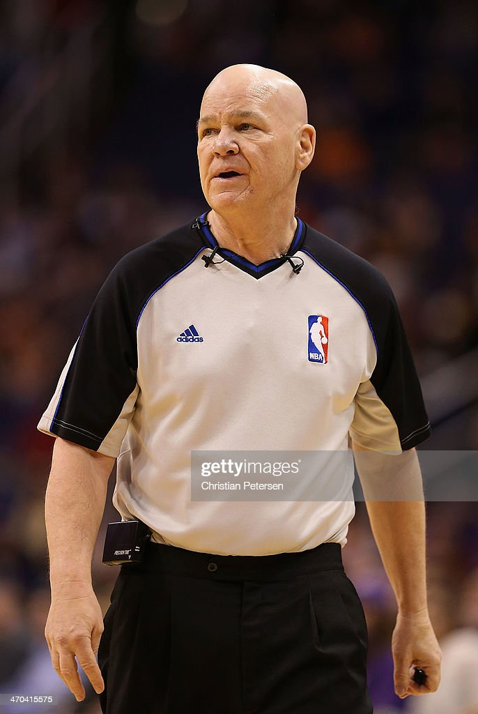 Referee Joey Crawford during the NBA game between the Phoenix Suns and Indiana Pacers at US Airways Center on January 22, 2014 in Phoenix, Arizona. The Suns defeated the Pacers 124-100.