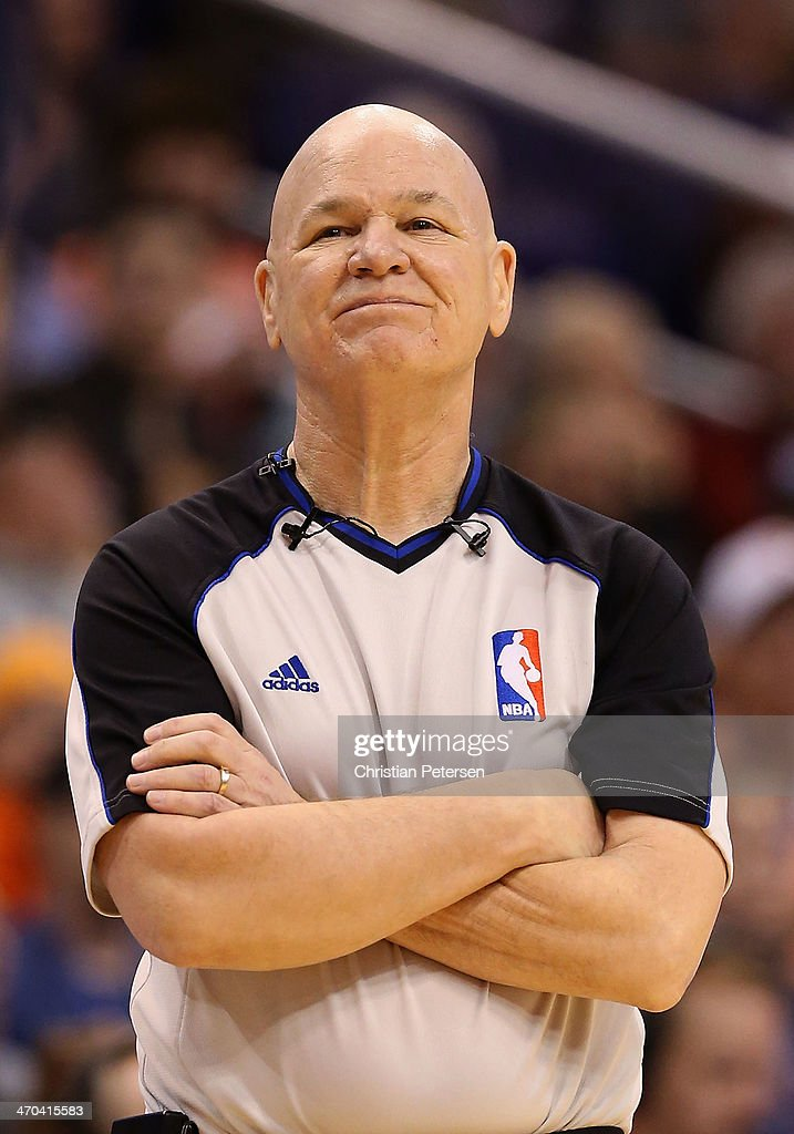 Referee <a gi-track='captionPersonalityLinkClicked' href=/galleries/search?phrase=Joey+Crawford&family=editorial&specificpeople=559119 ng-click='$event.stopPropagation()'>Joey Crawford</a> during the NBA game between the Phoenix Suns and Indiana Pacers at US Airways Center on January 22, 2014 in Phoenix, Arizona. The Suns defeated the Pacers 124-100.
