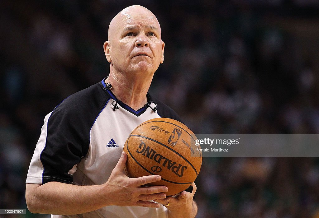 Referee Joey Crawford looks on during a stop in play between the Los Angeles Lakers and the Boston Celtics during Game Five of the 2010 NBA Finals on June 13, 2010 at TD Garden in Boston, Massachusetts.
