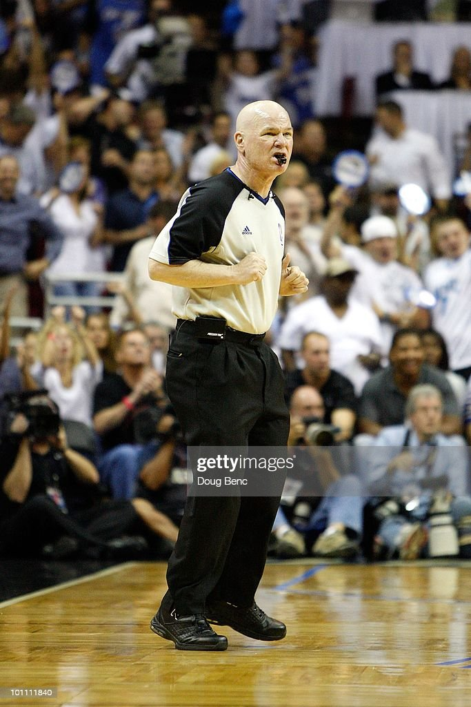Referee Joey Crawford looks on during Game Five of the Eastern Conference Finals between the Orlando Magic and the Boston Celtics during the 2010 NBA Playoffs at Amway Arena on May 26, 2010 in Orlando, Florida. The Magic won 113-92.