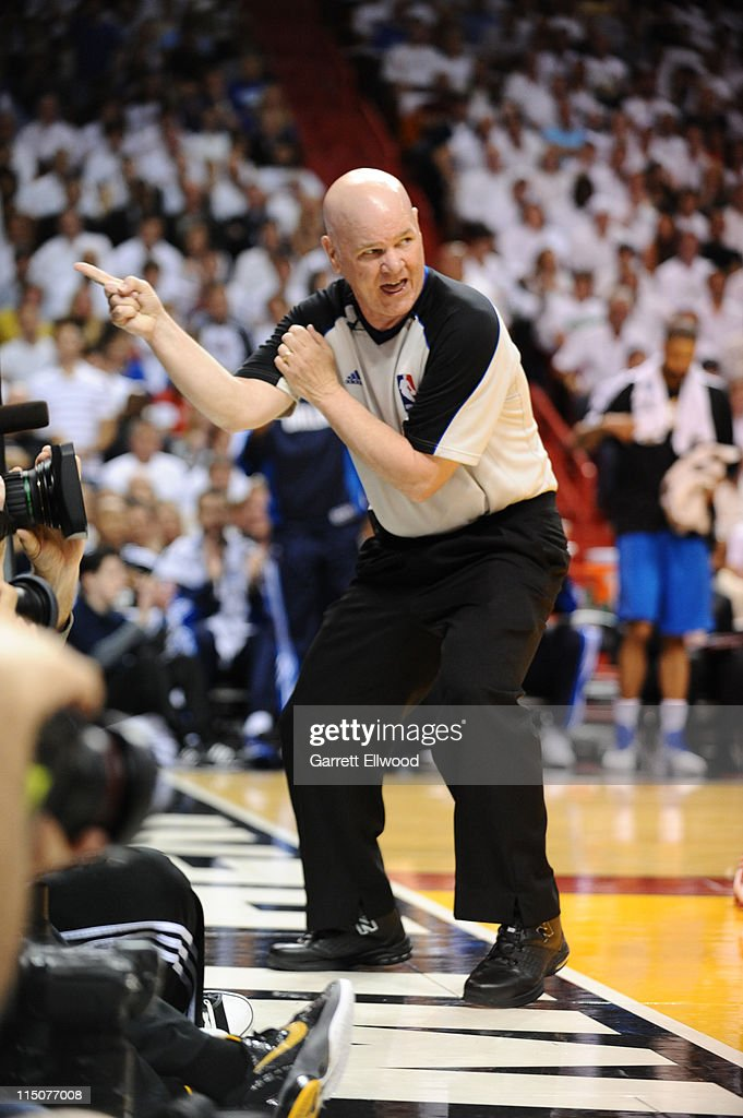 Referee Joey Crawford makes a call during Game Two of the 2011 NBA Finals on June 2, 2011 between the Dallas Mavericks and the Miami Heat at the American Airlines Arena in Miami, Florida.