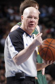 Referee Joey Crawford makes a call during the Dallas Mavericks game against the Utah Jazz on February 7 2014 at the American Airlines Center in...