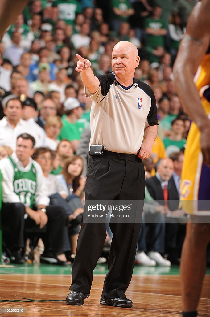 Referee Joey Crawford makes a call in Game Five of the 2010 NBA Finals on June 13, 2010 at TD Garden in Boston, Massachusetts.