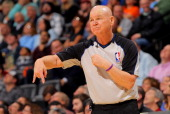 Referee Joey Crawford oversees the action between the Portland Trail Blazers and the Denver Nuggets at the Pepsi Center on January 15 2013 in Denver...