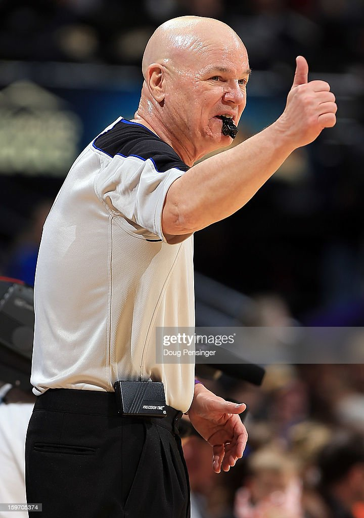 Referee Joey Crawford oversees the action between the Portland Trail Blazers and the Denver Nuggets at the Pepsi Center on January 15, 2013 in Denver, Colorado. The Nuggets defeated the Trail Blazers 115-111 in overtime.