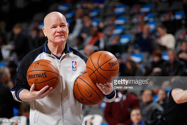 Referee Joey Crawford prepares before the Dallas Mavericks game against the Utah Jazz on February 7 2014 at the American Airlines Center in Dallas...