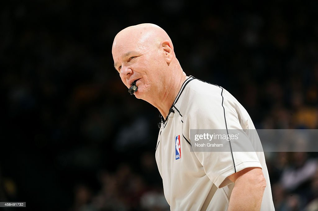 NBA Referee <a gi-track='captionPersonalityLinkClicked' href=/galleries/search?phrase=Joey+Crawford&family=editorial&specificpeople=559119 ng-click='$event.stopPropagation()'>Joey Crawford</a> stands on the court during a game between the Los Angeles Clippers and Golden State Warriors on November 5, 2014 at Oracle Arena in Oakland, California.
