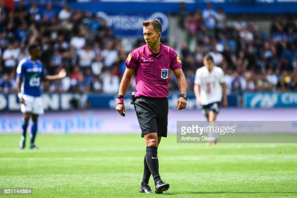 Referee Johan Hamel during the Ligue 1 match between Racing Club Strasbourg and Lille OSC at Stade de la Meinau on August 13 2017 in Strasbourg