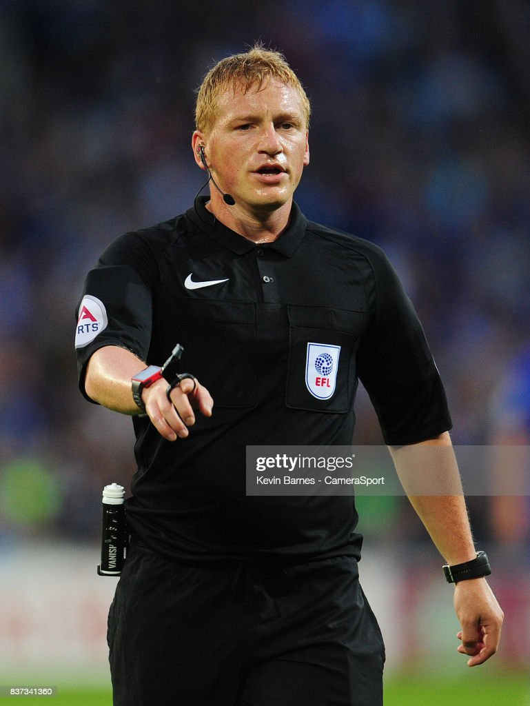 Referee John Busby during the Carabao Cup Second Round match between Cardiff City and Burton Albion at Cardiff City Stadium on August 22, 2017 in Cardiff, Wales.