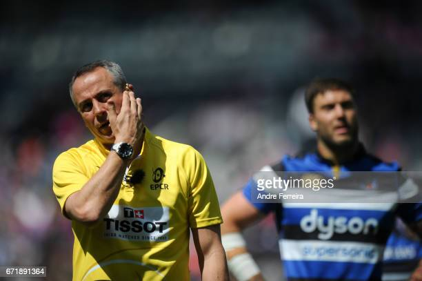 Referee John Lacey during the European Challenge Cup semi final between Stade Francais and Bath on April 23 2017 in Paris France