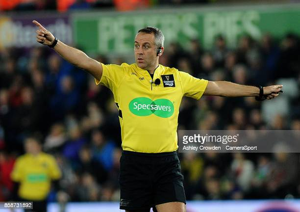 Referee John Lacey in action during todays match during the Guinness Pro14 Round 6 match between Ospreys and Scarlets at Liberty Stadium on October 7...