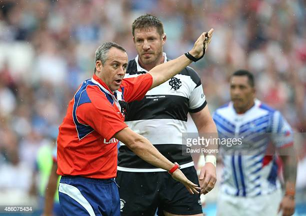 Referee John Lacey issues instructions during the Rugby Union match between the Barbarians and Samoa at the Olympic Stadium on August 29 2015 in...