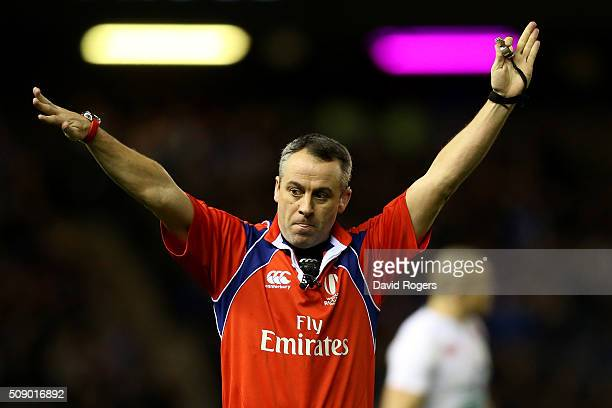 Referee John Lacey of Ireland gives a decision during the RBS Six Nations match between Scotland and England at Murrayfield Stadium on February 6...