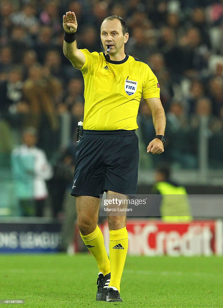 Referee <a gi-track='captionPersonalityLinkClicked' href=/galleries/search?phrase=Jonas+Eriksson+-+Referee&family=editorial&specificpeople=12731953 ng-click='$event.stopPropagation()'>Jonas Eriksson</a> gestures during the UEFA Champions League group E match between Juventus and Sevilla FC at Juventus Arena on September 30, 2015 in Turin, Italy.