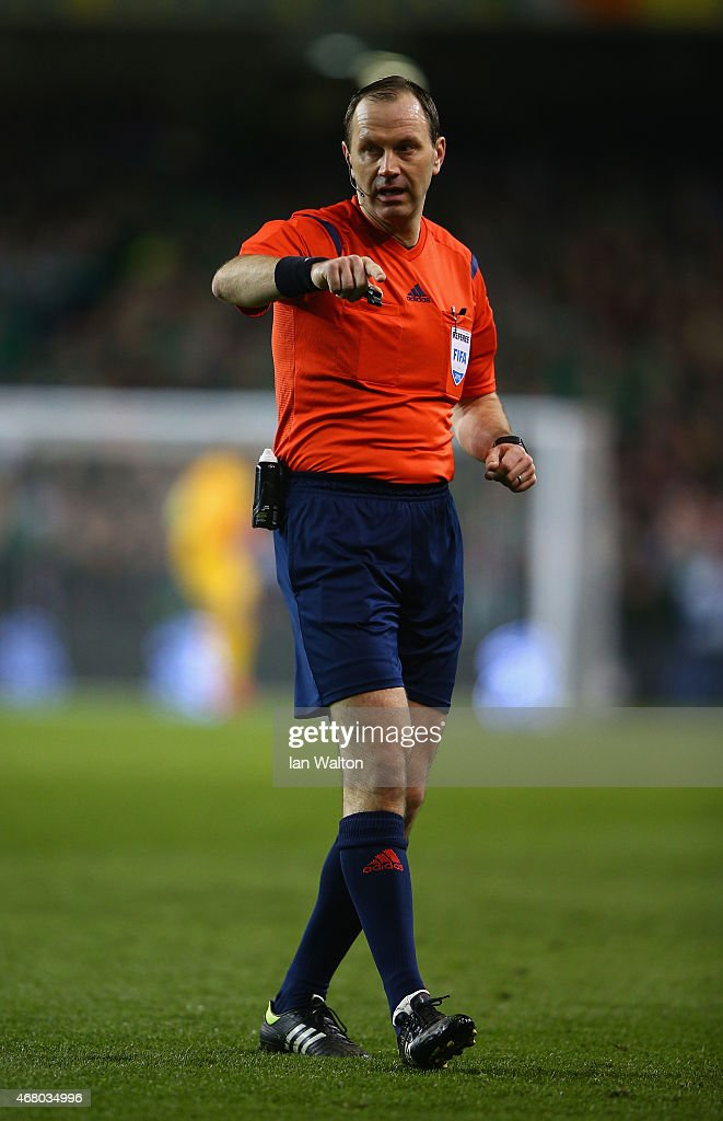 Referee <a gi-track='captionPersonalityLinkClicked' href=/galleries/search?phrase=Jonas+Eriksson+-+Referee&family=editorial&specificpeople=12731953 ng-click='$event.stopPropagation()'>Jonas Eriksson</a> in action during the EURO 2016 Qualifier match between Republic of Ireland and Poland at Aviva Stadium on March 29, 2015 in Dublin, Ireland.