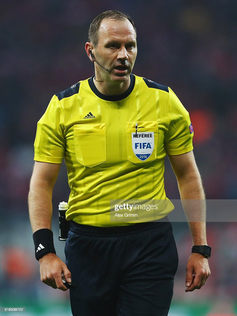 Referee <a gi-track='captionPersonalityLinkClicked' href=/galleries/search?phrase=Jonas+Eriksson+-+Referee&family=editorial&specificpeople=12731953 ng-click='$event.stopPropagation()'>Jonas Eriksson</a> reacts during the UEFA Champions League Round of 16 Second Leg match between FC Bayern Muenchen and Juventus at Allianz Arena on March 16, 2016 in Munich, Germany.