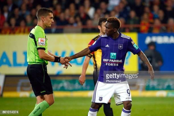 referee Jonathan Lardot and Henry Onyekuru forward of RSC Anderlecht pictured during the Jupiler Pro League match between Kv Mechelen and Rsc...