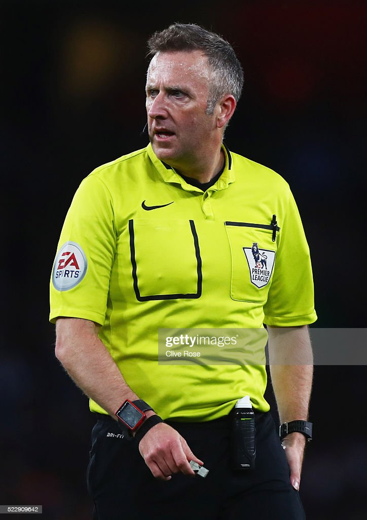 Referee Jonathan Moss looks on during the Barclays Premier League match between Arsenal and West Bromwich Albion at the Emirates Stadium on April 21, 2016 in London, England.
