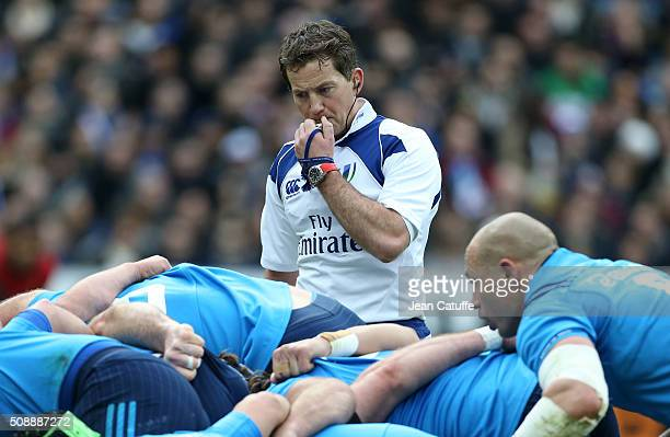 Referee JP Doyle of Ireland gestures during the RBS 6 Nations match between France and Italy at Stade de France on February 6 2016 in SaintDenis...