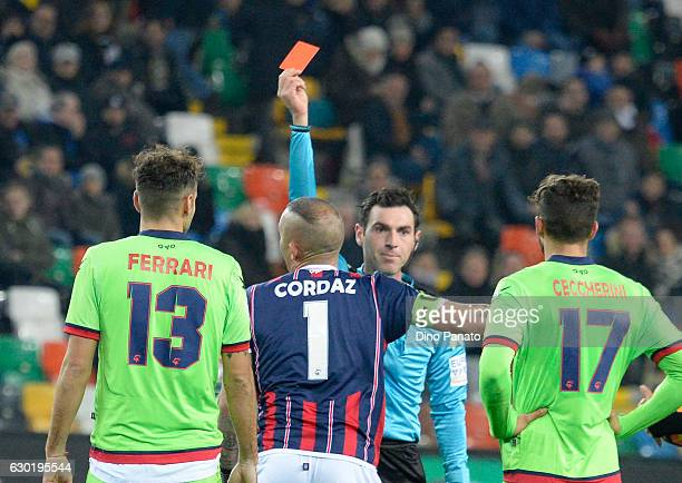 referee Juan Luca Sacchi showsthe red card to Alex Cordaz goalkeeper of FC Crotone during the Serie A match between Udinese Calcio and FC Crotone at...