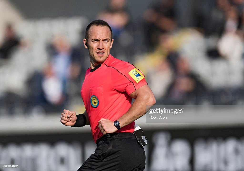 Referee Kaspar Sjoberg during the Allsvenskan match between BK Hacken and Djurgardens IF at Bravida Arena on May 29, 2016 in Gothenburg, Sweden.