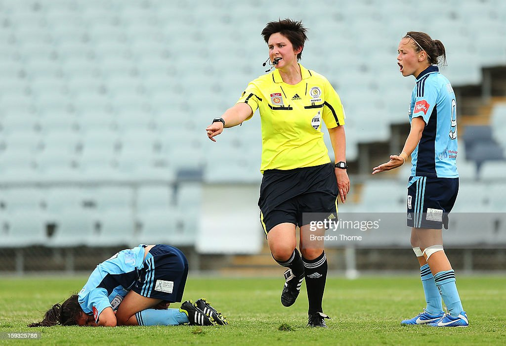 Referee, Kate Jacewicz points to the spot for a Wanderers penalty during the round 12 W-League match between the Western Sydney Wanderers and Sydney FC at Campbelltown Sports Stadium on January 12, 2013 in Sydney, Australia.