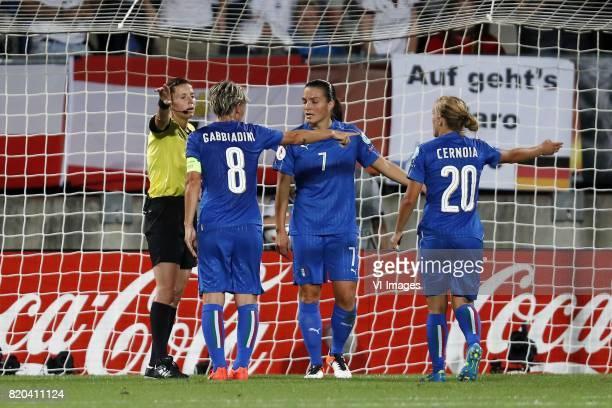 referee Kateryna Monzul Melania Gabbiadini of Italy Women Alia Guagni of Italy Women Valentina Cernoia of Italy Women during the UEFA WEURO 2017...