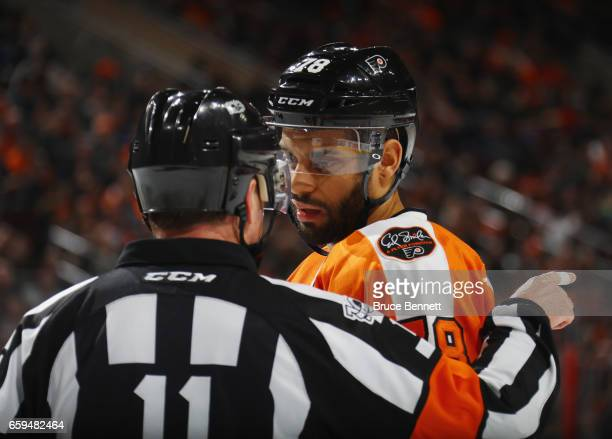 Referee Kelly Sutherland instructs PierreEdouard Bellemare of the Philadelphia Flyers during the game against the Ottawa Senators at the Wells Fargo...