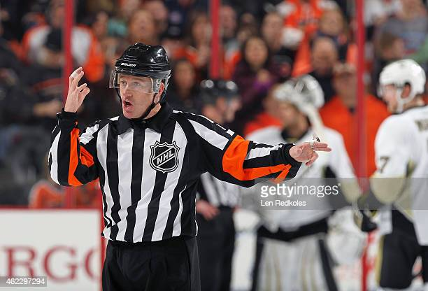 Referee Kelly Sutherland makes a call during a game between the Philadelphia Flyers and the Pittsburgh Penguins on January 20 2015 at the Wells Fargo...