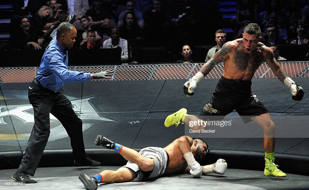 Referee <a gi-track='captionPersonalityLinkClicked' href=/galleries/search?phrase=Kenny+Bayless&family=editorial&specificpeople=739468 ng-click='$event.stopPropagation()'>Kenny Bayless</a> moves in as Bryan Vera hits the canvas after being knocked down by Gabe Rosado in the sixth round of their middleweight championship fight at the inaugural event for BKB, Big Knockout Boxing, at the Mandalay Bay Events Center on August 16, 2014 in Las Vegas, Nevada. Rosado won by sixth-round TKO.