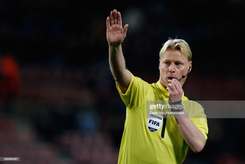 Referee, Kevin Blom in action during the KNVB Dutch Cup match between PSV Eindhoven and Feyenoord Rotterdam at Philips Stadion on January 30, 2013 in Eindhoven, Netherlands.