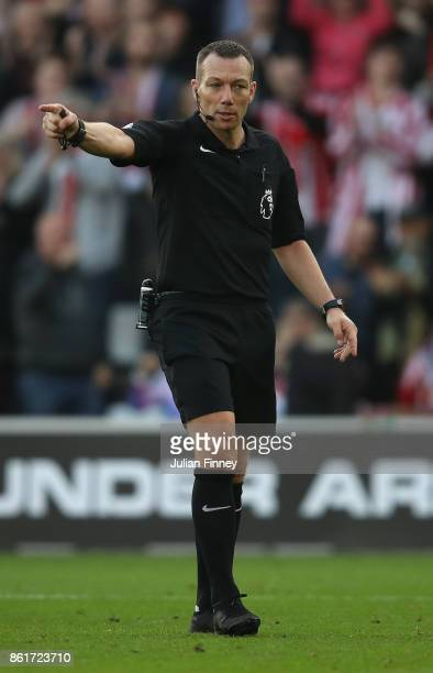 Referee Kevin Friend gives a decision during the Premier League match between Southampton and Newcastle United at St Mary's Stadium on October 15...