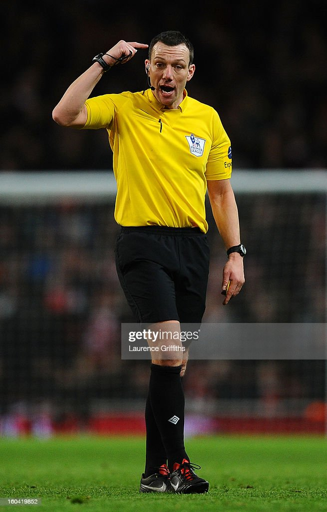 Referee Kevin Friend in action during the Barclays Premier League match between Arsenal and Liverpool at Emirates Stadium on January 30, 2013 in London, England.