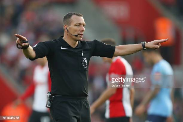 Referee Kevin Friend signals during the Premier League match between Southampton and Newcastle United at St Mary's Stadium on October 15 2017 in...