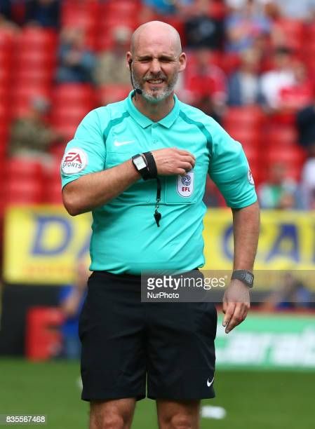 Referee Kevin Johnson during Sky Bet League One match between Charlton Athletic against Northampton Town at The Valley Stadium London on 19 August...