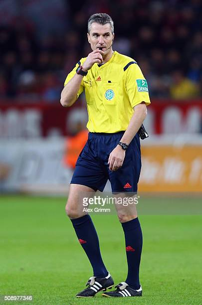 Referee Knut Kircher reacts during the Bundesliga match between Bayer Leverkusen and FC Bayern Muenchen at BayArena on February 6 2016 in Leverkusen...