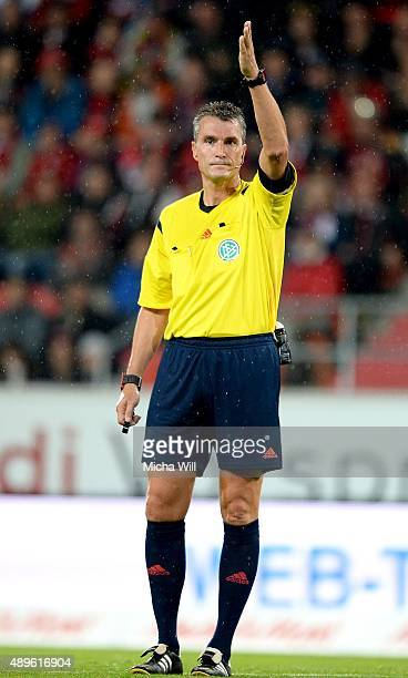 Referee Knut Kircher reacts during the Bundesliga match between FC Ingolstadt and Hamburger SV at Audi Sportpark on September 22 2015 in Ingolstadt...