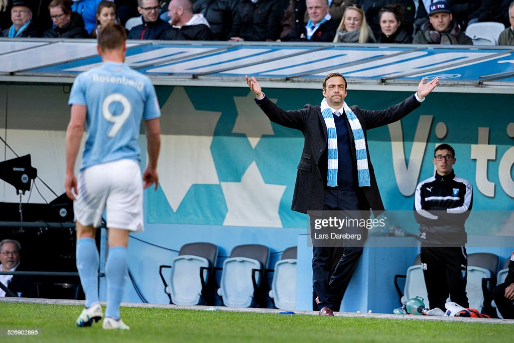 Referee Kristoffer Karlsson give Markus Rosenberg of Malmo FF a red card and Allan Kuhn head coach of Malmo FF react during the Allsvenskan match between Malmo FF and BK Hacken at Swedbank Stadion on May 1, 2016 in Malmo, Sweden.