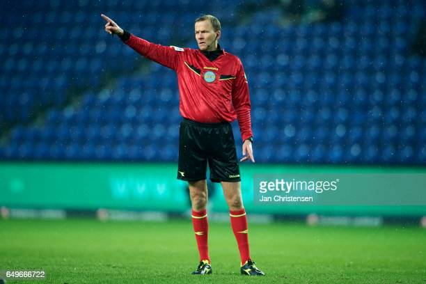 Referee Lars Christoffersen in action during the Danish Cup DBU Pokalen match between BK Marienlyst and Brondby IF at Brondby Stadion on March 08...