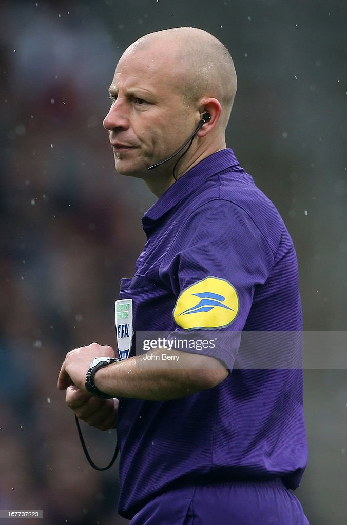 Referee Laurent Duhamel in action during the Ligue 1 match between Olympique Lyonnais, OL, and AS Saint-Etienne, ASSE, at the Stade Gerland on April 28, 2013 in Lyon, France.