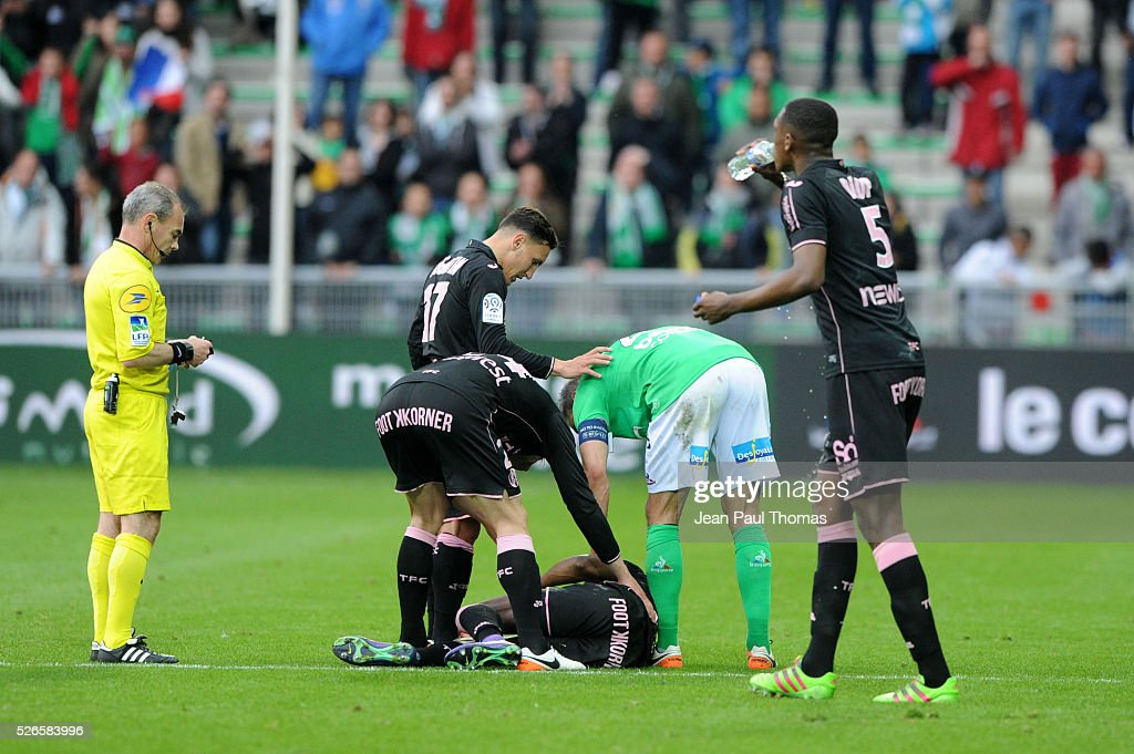 Referee Loic Jaffredo gives a red card to Loic Perrin during the French Ligue 1 match between AS Saint Etienne and Toulouse FC at Stade Geoffroy-Guichard on April 30, 2016 in Saint-Etienne, France.