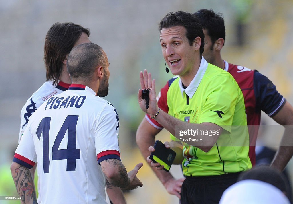 Referee Luca Banti (R) speakes to <a gi-track='captionPersonalityLinkClicked' href=/galleries/search?phrase=Francesco+Pisano&family=editorial&specificpeople=2366269 ng-click='$event.stopPropagation()'>Francesco Pisano</a> after shows red card during the Serie A match between Bologna FC and Cagliari Calcio at Stadio Renato Dall'Ara on March 3, 2013 in Bologna, Italy.