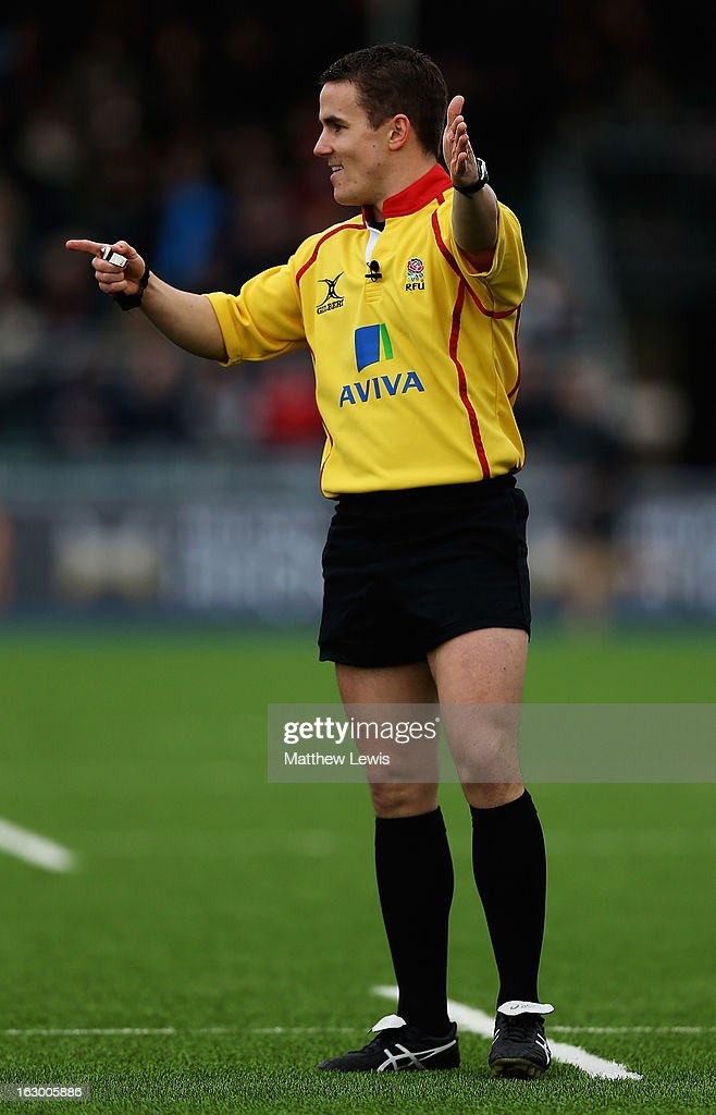 Referee Luke Pearce in action during the Aviva Premiership match between Saracens and London Welsh at Allianz Park on March 3, 2013 in Barnet, England.