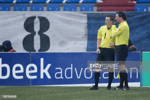 Referee Maarten Ketting during the Dutch Eredivise match between Willem II and ADO Den Haag at the Koning Willem II Stadium on January 20 2013 in...