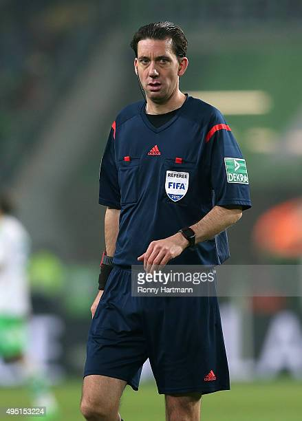 Referee Manuel Graefe is pictured during the Bundesliga match between VfL Wolfsburg and Bayer Leverkusen at Volkswagen Arena on October 31 2015 in...