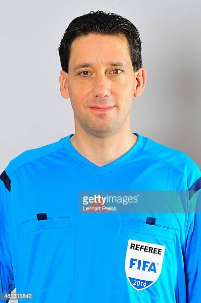 Referee Manuel Graefe poses during a portrait session during the Annual Referee Course on July 17 2014 in Grassau Germany