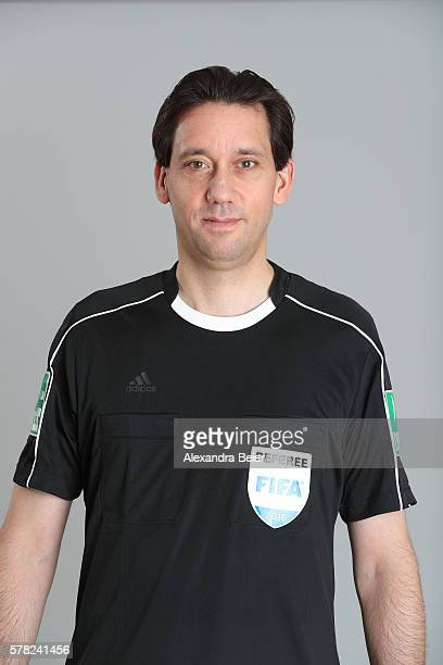 Referee Manuel Graefe poses during the DFB referee team presentation on July 13 2016 in Grassau Germany